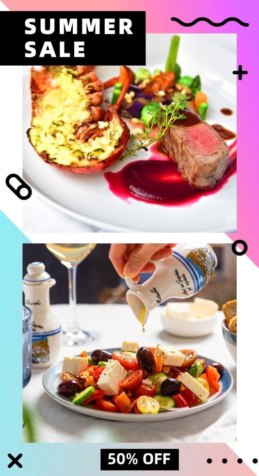 奢华餐饮美食美食拼图模板