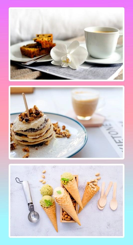 简约餐饮美食美食拼图模板