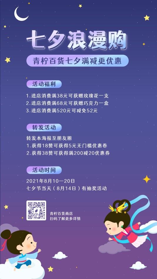 时尚市场营销七夕手机海报模板