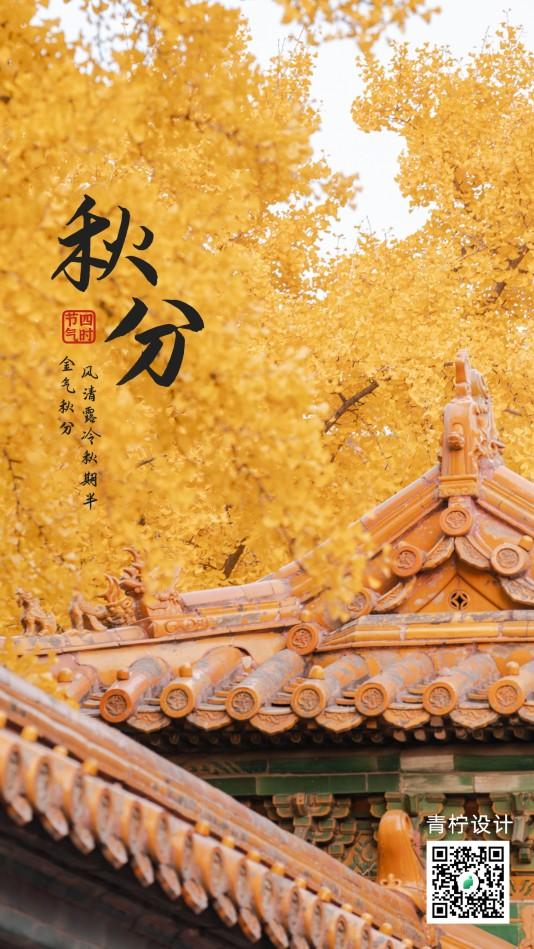 中国风秋分手机海报模板